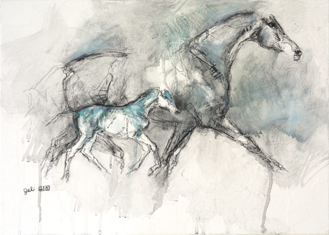 Mare and foal charcoal painting